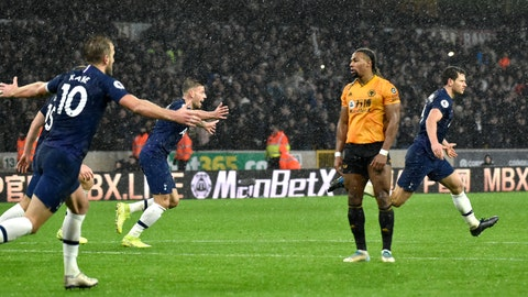 <p>               Tottenham's Jan Vertonghen, right, celebrates after scoring his side's second goal during the English Premier League soccer match between Wolverhampton Wanderers and Tottenham Hotspur at the Molineux Stadium in Wolverhampton, England, Sunday, Dec.15, 2019. (AP Photo/Rui Vieira)             </p>