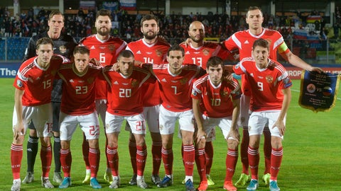 <p>               Russia national soccer team poses prior to the start of the Euro 2020 group I qualifying soccer match between San Marino and Russia, in San Marino, Tuesday, Nov. 19, 2019. (AP Photo/Marco Vasini)             </p>