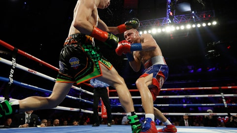 <p>               Ireland's Michael Conlan, left, and Russia's Vladimir Nikitin fight during the eighth round of a WBO intercontinental featherweight boxing match, Saturday, Dec. 14, 2019, in New York. (AP Photo/Michael Owens)             </p>