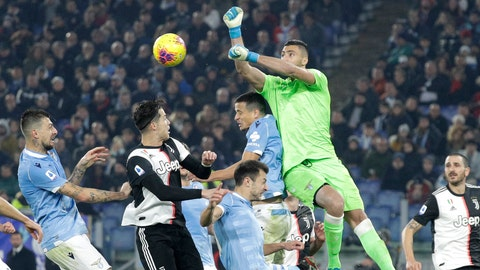 <p>               Lazio's goalkeeper Thomas Strakosha beats the ball away during the Italian Serie A soccer match between Lazio and Juventus at Rome's Olympic stadium, in Rome, Italy, Saturday, Dec. 7, 2019. (AP Photo/Gregorio Borgia)             </p>