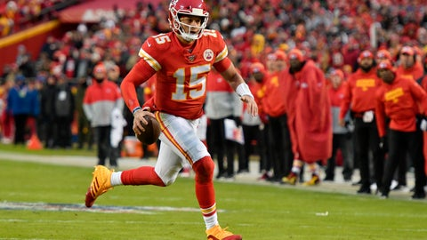 <p>               Kansas City Chiefs quarterback Patrick Mahomes (15) runs for a touchdown during the first half of an NFL football game against the Oakland Raiders in Kansas City, Mo., Sunday, Dec. 1, 2019. (AP Photo/Ed Zurga)             </p>