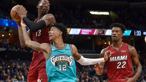 <p>               Memphis Grizzlies guard Ja Morant (12) and Miami Heat center Bam Adebayo (13) struggle for control of the ball as Heat forward Jimmy Butler (22) moves for position in the second half of an NBA basketball game Monday, Dec. 16, 2019, in Memphis, Tenn. (AP Photo/Brandon Dill)             </p>