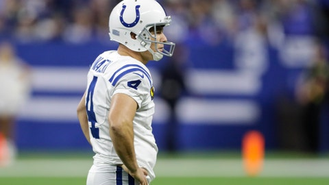<p>               Indianapolis Colts kicker Adam Vinatieri (4) watches after his field goal attempt was blocked and returned for a touchdown by the Tennessee Titans during the second half of an NFL football game in Indianapolis, Sunday, Dec. 1, 2019. (AP Photo/Darron Cummings)             </p>