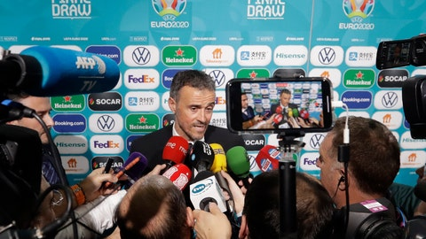 <p>               Spain coach Luis Enrique talks to journalists after the draw for the UEFA Euro 2020 soccer tournament finals in Bucharest, Romania, Saturday, Nov. 30, 2019. (AP Photo/Petr David Josek)             </p>