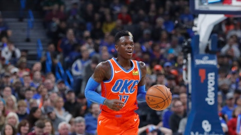<p>               Oklahoma City Thunder guard Dennis Schroder (17) dribbles downcourt against the Los Angeles Clippers during the second quarter of an NBA basketball game Sunday, Dec. 22, 2019, in Oklahoma City. (AP Photo/Alonzo Adams)             </p>