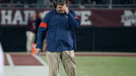 """<p>               In this Nov. 28, 2019 photograph, Mississippi head coach Matt Luke reacts to a play against Mississippi state during an NCAA college football game in Starkville, Miss. Mississippi has fired Luke, three days after his third non-winning season ended with an excruciating rivalry game loss. Athletic director Keith Carter said Sunday, Dec. 1, 2019 the decision to change coaches was made after evaluating the trajectory of the program and not seeing enough """"momentum on the field. (AP Photo/Rogelio V. Solis)             </p>"""