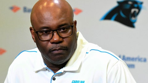 <p>               Carolina Panthers' Perry Fewell is shown  during his first press conference as the NFL football team's interim head coach, at Bank of America Stadium in Charlotte, N.C., Wednesday, Dec. 4, 2019. Ron Rivera was fired as head coach on Tuesday. (David T. Foster III/The Charlotte Observer via AP)             </p>