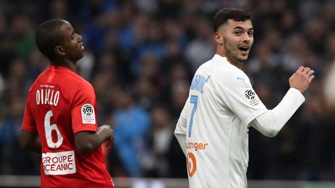 <p>               Marseille's Nemanja Radonjic celebrates ahead of Brest's Ibrahima Diallo after scoring his side's second goal during the French League One soccer match between Marseille and Brest at the Velodrome stadium in Marseille, southern France, Friday, Nov. 29, 2019. (AP Photo/Daniel Cole)             </p>