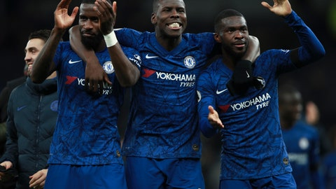 <p>               From left, Chelsea's Antonio Rudiger, Kurt Zouma and Fikayo Tomori celebrate their side's 2-0 win at the end of the English Premier League soccer match between Tottenham Hotspur and Chelsea, at the Tottenham Hotspur Stadium in London, Sunday, Dec. 22, 2019. (AP Photo/Ian Walton)             </p>