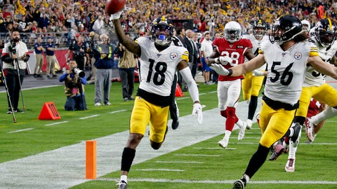 <p>               Pittsburgh Steelers wide receiver Diontae Johnson (18) runs in an 85-yard punt return for a touchdown against the Arizona Cardinals during the first half of an NFL football game, Sunday, Dec. 8, 2019, in Glendale, Ariz. (AP Photo/Ross D. Franklin)             </p>