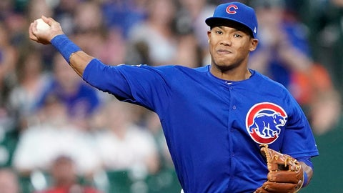 <p>               FILE - In this May 29, 2019, file photo, Chicago Cubs shortstop Addison Russell throws to first during the eighth inning of a baseball game against the Houston Astro in Houston. The Cubs failed to offer a 2020 contract to Russell on Monday, Dec. 2, 2019, making the 2016 All-Star a free agent one year after he was suspended for violating Major League Baseball's domestic violence policy. (AP Photo/David J. Phillip, File)             </p>