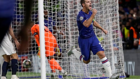 <p>               Chelsea's Cesar Azpilicueta celebrates scoring his side's 2nd goal during the Champions League Group H soccer match between Chelsea and Lille at Stamford Bridge stadium in London Tuesday, Dec. 10, 2019. (AP Photo/Kirsty Wigglesworth)             </p>