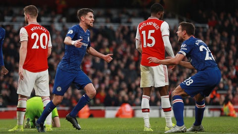<p>               Chelsea's Jorginho, left, celebrates with his teammate Cesar Azpilicueta after scoring his side's first goal during the English Premier League soccer match between Arsenal and Chelsea, at the Emirates Stadium in London, Sunday, Dec. 29, 2019. (AP Photo/Ian Walton)             </p>