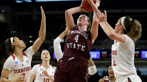 <p>               FILE - In this Saturday, March 30, 2019, file photo, Missouri State's Abby Hipp (4) shoots against Stanford's Lexie Hull (12) during the first half of a regional semifinal game in the NCAA women's college basketball tournament, in Chicago. In the first week of December 2019, Missouri State is ranked for the first time in 15 years. Hipp is one of the team's returning players from a squad that reached last season's Sweet 16. (AP Photo/Kiichiro Sato, File)             </p>