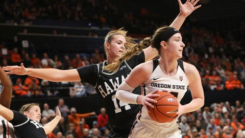 <p>               Oregon State's Kennedy Brown (42) passes the ball away from Hawaii's Lauren Rewers (14) during the first half of an NCAA college basketball game in Corvallis, Ore., Friday, Dec. 6, 2019. (AP Photo/Amanda Loman)             </p>