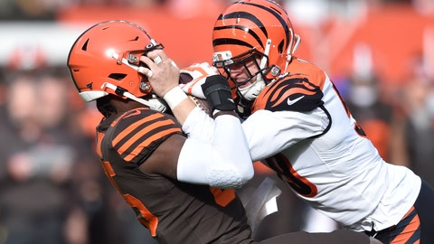 <p>               Cincinnati Bengals outside linebacker Nick Vigil, right, recovers a fumble against Cleveland Browns tight end David Njoku during the first half of an NFL football game, Sunday, Dec. 8, 2019, in Cleveland. (AP Photo/David Richard)             </p>
