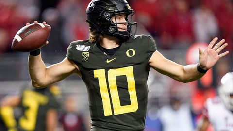 <p>               Oregon quarterback Justin Herbert throws a pass against Utah during the second half of the Pac-12 Conference championship NCAA college football game in Santa Clara, Calif., Friday, Dec. 6, 2018. (AP Photo/Tony Avelar)             </p>