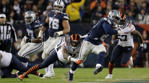<p>               Dallas Cowboys' Ezekiel Elliott (21) runs out of a tackle of Chicago Bears' Ha Ha Clinton-Dix (21) during the first half of an NFL football game, Thursday, Dec. 5, 2019, in Chicago. (AP Photo/Morry Gash)             </p>