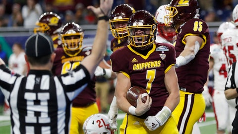 <p>               Central Michigan quarterback Tommy Lazzaro (7) reacts after scoring a touchdown during the second half of the Mid-American Conference championship NCAA college football game against Miami of Ohio, Saturday, Dec. 7, 2019, in Detroit. (AP Photo/Carlos Osorio)             </p>