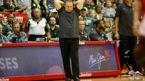 <p>               Michigan State head coach Tom Izzo reacts to play against Virginia Tech during the second half of an NCAA college basketball game Monday, Nov. 25, 2019, in Lahaina, Hawaii. (AP Photo/Marco Garcia)             </p>