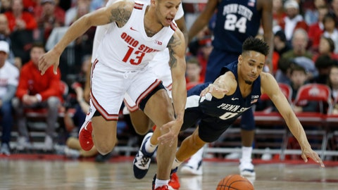 <p>               Ohio State's C.J. Walker, left, and Penn State's Myreon Jones chase a loose ball during the second half of an NCAA college basketball game Saturday, Dec. 7, 2019, in Columbus, Ohio. Ohio State beat Penn State 104-74. (AP Photo/Jay LaPrete)             </p>