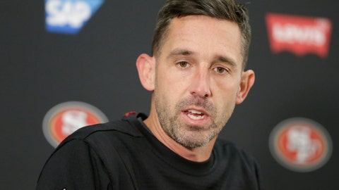 <p>               San Francisco 49ers head coach Kyle Shanahan speaks during a news conference after loosing to the Baltimore Ravens in a NFL football game, Sunday, Dec. 1, 2019, in Baltimore, Md. Ravens won 20-17. (AP Photo/Julio Cortez)             </p>