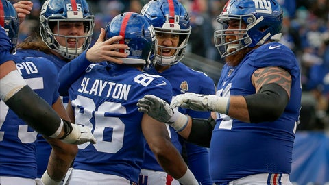 <p>               New York Giants wide receiver Darius Slayton (86) celebrates with quarterback Eli Manning (10) and other teammates after scoring a touchdown against the Miami Dolphins during the third quarter of an NFL football game, Sunday, Dec. 15, 2019, in East Rutherford, N.J. (AP Photo/Seth Wenig)             </p>