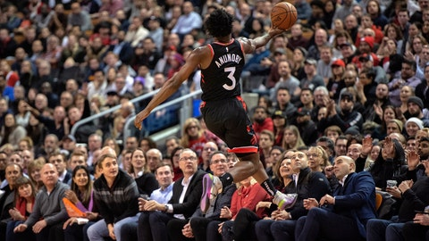 <p>               Toronto Raptors forward OG Anunoby (3) recovers the ball about to go out of bounds during the first half of the team's NBA basketball game against the Washington Wizards on Friday, Dec. 20, 2019, in Toronto. (Frank Gunn/The Canadian Press via AP)             </p>