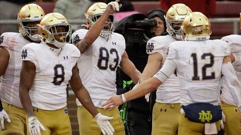 <p>               Notre Dame's Chase Claypool (83) celebrates after scoring a touchdown against Stanford in the second half of an NCAA college football game Saturday, Nov. 30, 2019, in Stanford, Calif. (AP Photo/Ben Margot)             </p>
