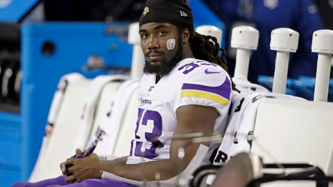 <p>               Minnesota Vikings' Dalvin Cook sits on the bench during the second half of an NFL football game against the Seattle Seahawks, Monday, Dec. 2, 2019, in Seattle. (AP Photo/John Froschauer)             </p>