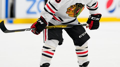 <p>               Chicago Blackhawks center Andrew Shaw, with a cut on his nose, looks on before a face off against the Colorado Avalanche during the second period of an NHL hockey game Saturday, Nov. 30, 2019, in Denver. (AP Photo/Jack Dempsey)             </p>