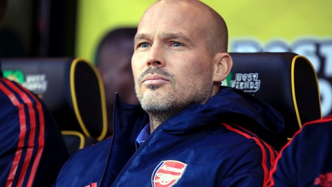 <p>               Arsenal's interim head coach Freddie Ljungberg looks out during the match against Norwich City, during their English Premier League soccer match at Carrow Road in Norwich, England, Sunday Dec. 1, 2019. (Adam Davy/PA via AP)             </p>
