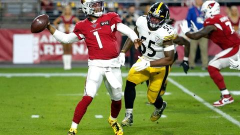 <p>               Arizona Cardinals quarterback Kyler Murray (1) throws as Pittsburgh Steelers linebacker Devin Bush pursues during the first half of an NFL football game, Sunday, Dec. 8, 2019, in Glendale, Ariz. (AP Photo/Rick Scuteri)             </p>