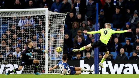 <p>               Sheffield United's Oliver McBurnie, right, scores his side's first goal of the game during their English Premier League soccer match against Brighton & Hove Albion at the AMEX Stadium, Brighton, England, Saturday, Dec. 21, 2019. (Gareth Fuller/PA via AP)             </p>