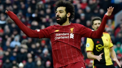 <p>               Liverpool's Mohamed Salah gestures during the English Premier League soccer match between Liverpool and Watford at Anfield stadium in Liverpool, England, Saturday, Dec. 14, 2019. (AP Photo/Rui Vieira)             </p>