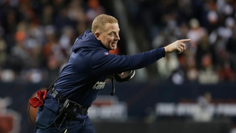 <p>               Dallas Cowboys head coach Jason Garrett shouts during the first half of an NFL football game against the Chicago Bears, Thursday, Dec. 5, 2019, in Chicago. (AP Photo/Morry Gash)             </p>
