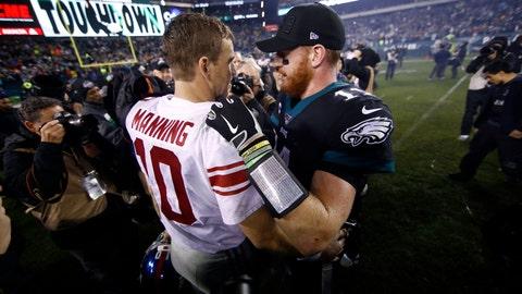 <p>               New York Giants' Eli Manning, left, and Philadelphia Eagles' Carson Wentz meet after overtime of an NFL football game, Monday, Dec. 9, 2019, in Philadelphia. (AP Photo/Matt Rourke)             </p>