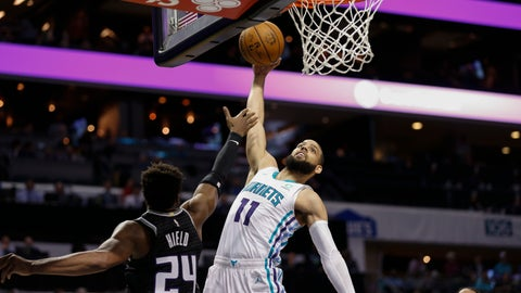 <p>               Charlotte Hornets forward Cody Martin, right, drives to the basket against Sacramento Kings guard Buddy Hield in the first half of an NBA basketball game in Charlotte, N.C., Tuesday, Dec. 17, 2019. (AP Photo/Nell Redmond)             </p>