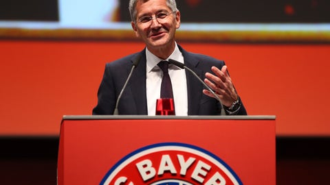 <p>               Upcoming president of Bayern Munich soccer club, Herbert Heiner, delivers his speech on the podium during the annual general meeting in Munich, Germany, Friday, Nov. 15, 2019. (AP Photo/Matthias Schrader)             </p>