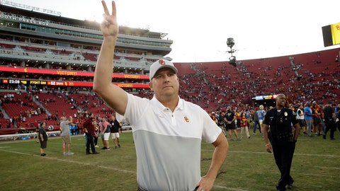 <p>               Southern California head coach Clay Helton signals to fans from midfield after a 52-35 win over UCLA in an NCAA college football game, Saturday, Nov. 23, 2019, in Los Angeles. (AP Photo/Marcio Jose Sanchez)             </p>