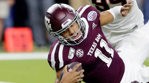 <p>               Texas A&M quarterback Kellen Mond (11) dives just short of the end zone in front of Oklahoma State defensive end Trace Ford (94) during the first half of the Texas Bowl NCAA college football game Friday, Dec. 27, 2019, in Houston. (AP Photo/Michael Wyke)             </p>