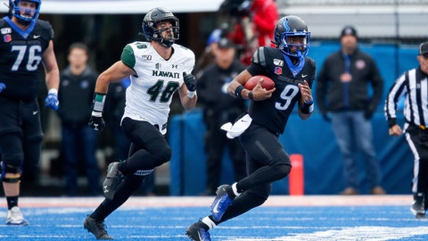 <p>               Boise State quarterback Jaylon Henderson, right, scrambles away from Hawaii defensive lineman Derek Thomas, left, during the first half of an NCAA college football game for the Mountain West Championship Saturday, Dec. 7, 2019, in Boise, Idaho. (AP Photo/Steve Conner)             </p>