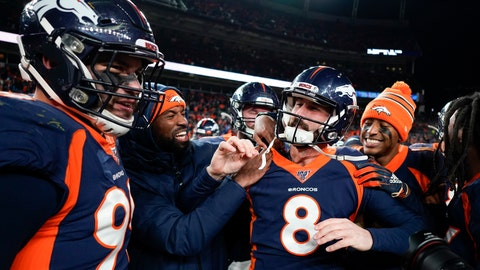 <p>               Denver Broncos kicker Brandon McManus (8) celebrates after kicking the game winning field goal against the Los Angeles Chargers during the second half of an NFL football game Sunday, Dec. 1, 2019, in Denver. (AP Photo/Jack Dempsey)             </p>