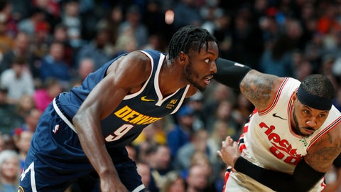 <p>               Denver Nuggets forward Jerami Grant, left, fights for position for a rebound with Portland Trail Blazers forward Carmelo Anthony in the first half of an NBA basketball game Thursday, Dec. 12, 2019, in Denver. (AP Photo/David Zalubowski)             </p>