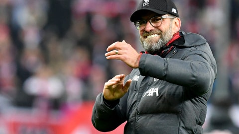 <p>               Liverpool's manager Jurgen Klopp celebrates at the end of the group E Champions League soccer match between Salzburg and Liverpool, in Salzburg, Austria, Tuesday, Dec. 10, 2019. Liverpool won 2:0. (AP Photo/Kerstin Joensson)             </p>