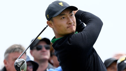 <p>               International team's Haotong Li of China tees off during a practice round ahead of the President's Cup Golf tournament in Melbourne, Wednesday, Dec. 11, 2019. (AP Photo/Andy Brownbill)             </p>
