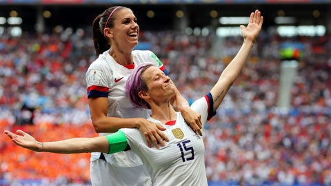 <p>               United States' Megan Rapinoe, right, celebrates after scoring the opening goal from the penalty spot during the Women's World Cup final soccer match between U.S. and The Netherlands at the Stade de Lyon in Decines, outside Lyon, France, July 7, 2019. (AP Photo/Francisco Seco)             </p>