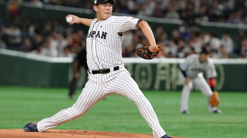 <p>               FILE - In this Nov. 17, 2019, file photo, Japan starting pitcher Shun Yamaguchi delivers a pitch against South Korea in the first inning of their Premier12 baseball tournament final game at Tokyo Dome in Tokyo. Yomiuri Giants right-hander Shun Yamaguchi and Hiroshima Toyo Carp second baseman Ryosuke Kikuchi have been made available to major league teams through the posting process. Major league clubs have until 5 p.m. EST on Jan. 2 to negotiate with the pair, Major League Baseball said Tuesday, Dec. 3, 2019. (AP Photo/Toru Takahashi, File)             </p>