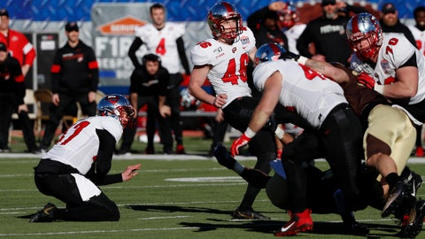 <p>               Western Kentucky place kicker Cory Munson (46) and holder John Haggerty (47) watch the game winning kick go through the uprights in the final seconds of the NCAA First Responder Bowl college football game against Western Michigan in Dallas, Monday, Dec. 30, 2019. Western Kentucky won the game 23-20. (AP Photo/Roger Steinman)             </p>