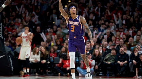 <p>               Phoenix Suns forward Kelly Oubre Jr. reacts after making a 3-point basket against the Portland Trail Blazers during the second half of an NBA basketball game in Portland, Ore., Monday, Dec. 30, 2019. The Suns won 122-116. (AP Photo/Craig Mitchelldyer)             </p>